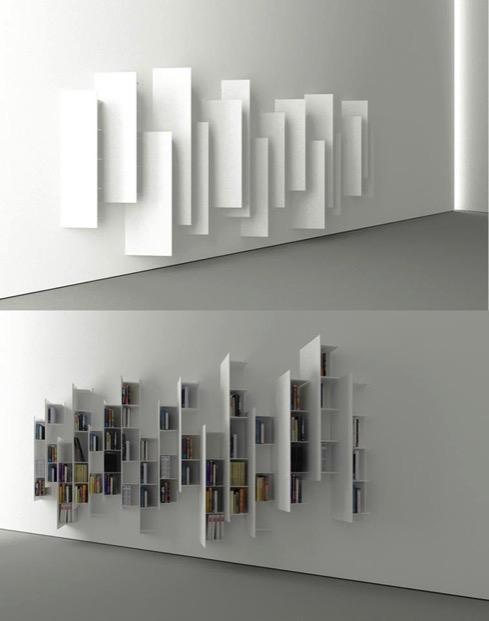 左右で見え方が変化する本棚【CTline】