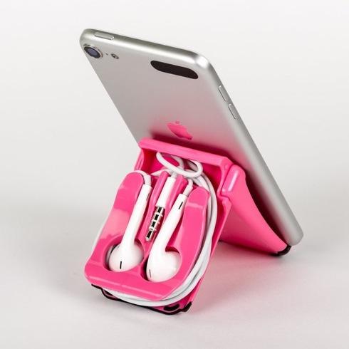 イヤホンを収納して持ち運べるコンパクトなiPhoneスタンド【EarPod Case & Stand】