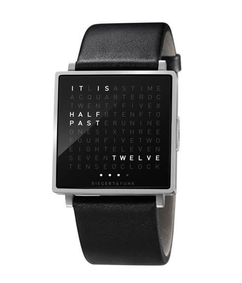 クールな「文字」で時刻を表す腕時計【QlockTwo W】