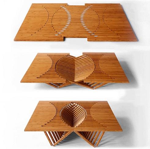 ダイナミックな折りたたみ式テーブル【rising table】|インテリアハック