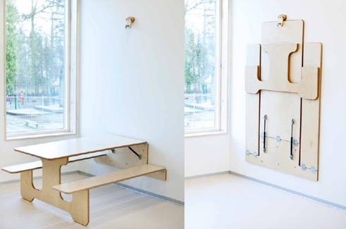 壁に収納できるダイニングテーブルセット【UNIQA veggbord voksenhøyde】